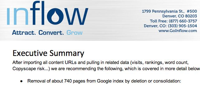 Content Strategy Screenshot from Inflow